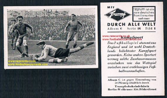1930s Trumpf celebrating the English game, soccer C 16 1 Durch Alle Welt